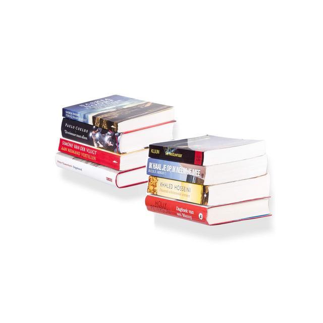 Set di 2 scaffali per Libri Invisibili da Parete in Metallo Bianco per Un Design Creativo Portata Fino a 6 kg