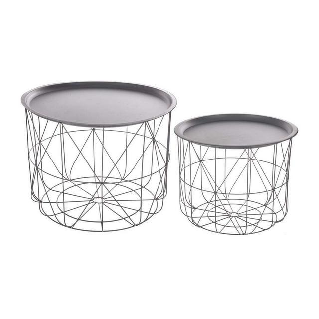 Set di 2 tavolini da caffè impilabili con ripiani amovibili Design e moderni Colore GRIGIO
