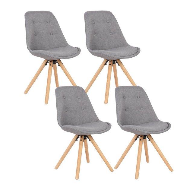 Set di 4 Sedie da Pranzo Moder Seduta Imbottita con Schiele Senza Braccioli in Tessuto di Lino Grigio