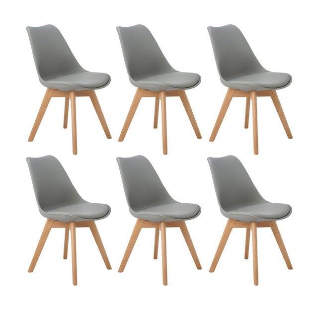 Set di 6 Moderne Sedie da PranzoTulip PranzoUfficio Sedia con Gambe con Gambe in Quercia Massiccio e Cuscini in Finta PelleGrigio