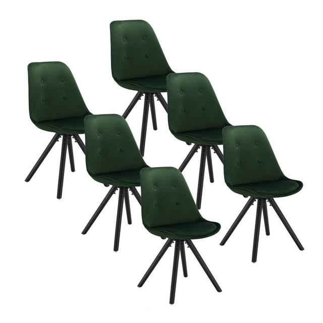 Set di 6 Sedie da Pranzo Moder Seduta Imbottita con Schiele Senza Braccioli in Velluto Verde Scuro