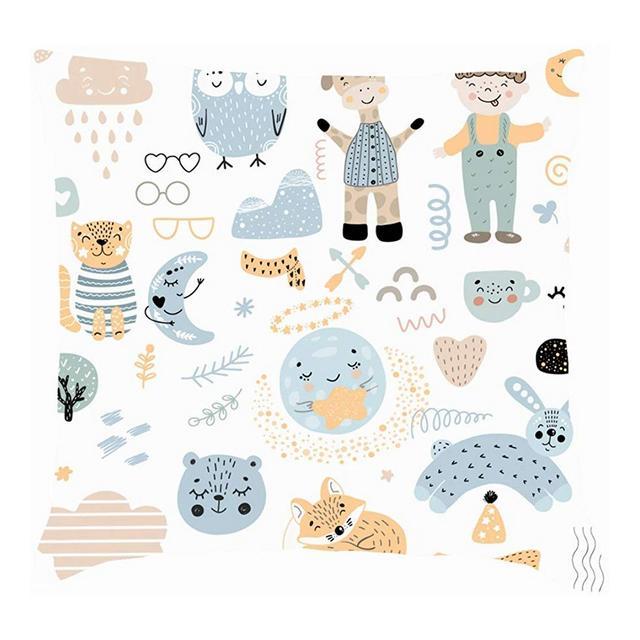 Set di Elementi per Bambini Doodles scandivi Animali Animali Cuscini per Cuscini Fodere per Cuscini in Lino di Cotone Federe