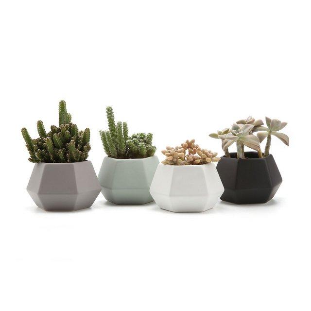 Set of 4 Hexagol Pattern SemiLuster Surface Ceramica Vaso di Fiori Pianta Succulente Cactus Vaso di Fiori Giardino i vasi di Fiori vasi di Piante