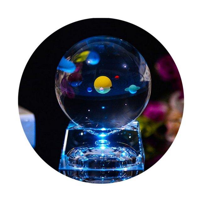 Sfera di Cristallo 3D con modello del Sistema Solare e Base lampada LED Palla di Vetro Trasparente 80mm 315 pollici regalo ideale per bambini uomini appassioti di fisica
