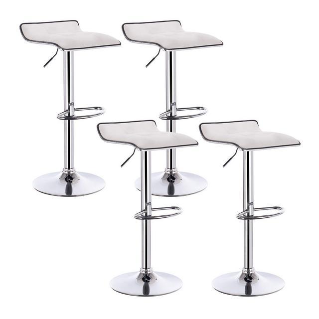 Sgabelli da Bar Sedia cucina Alta con Poggiapiedi Similpelle Cromato Regolabile Girevole Moderni Classici Bianco Coppia Set 4