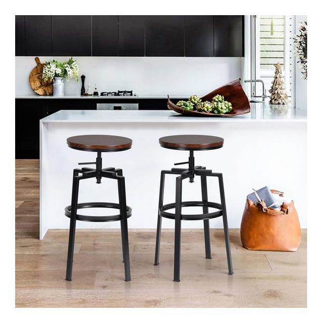 Sgabelli da BarSet di 2 Sgabello da cucina RotondiAltezza RegolabileSgabello da Colazione Regolabile a 360°