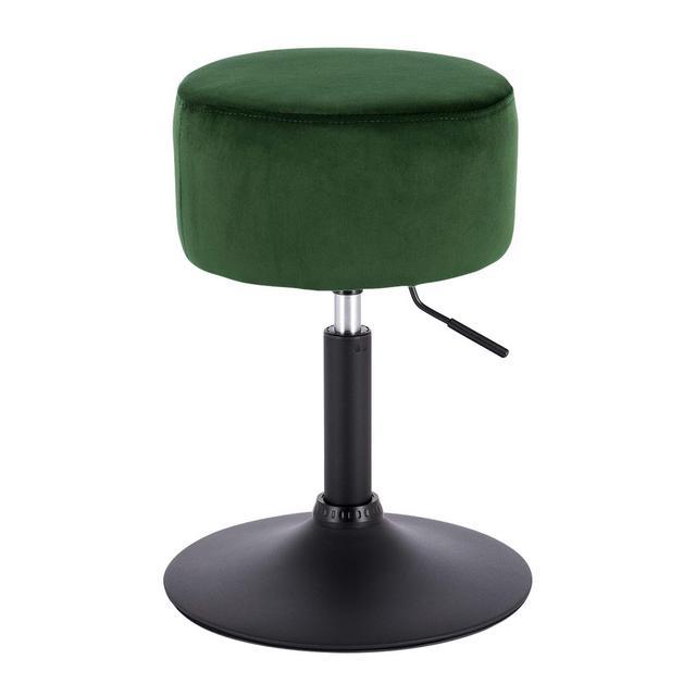 Sgabello da Bar Senza Schiele Braccioli in Velluto Seduta Imbottita Altezza Regolabile Girevole Verde 1 Pezzo