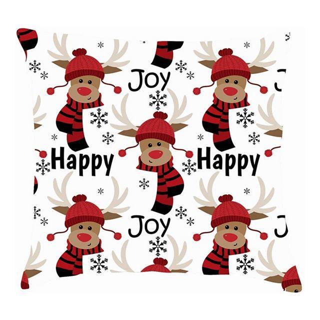 Simpatiche Renne Inverno Persolizzato Happy Joyholidays Copricuscino in Cotone Fodere per Cuscino in Lino Federe