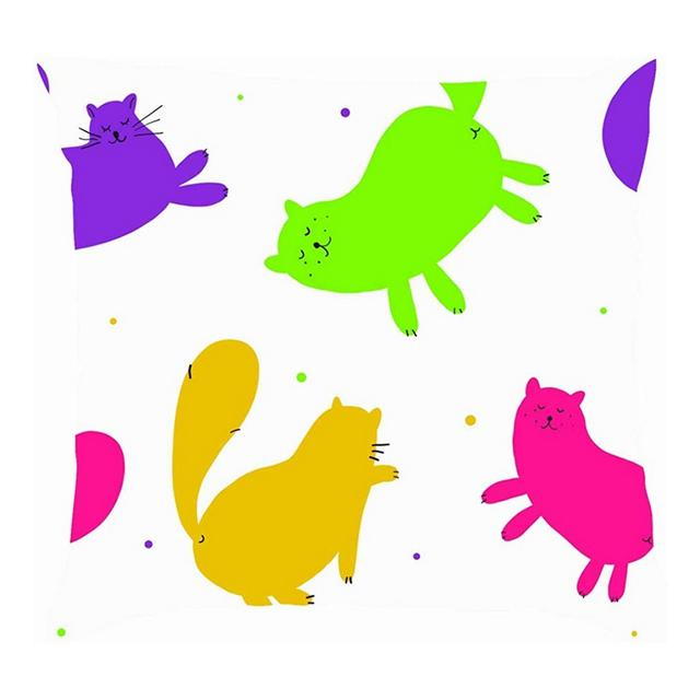 Simpatici Gatti Colorati Animali creativi Fau Selvatica Cuscini per Cuscini per Animali Fodere per Cuscini in Lino di Cotone Federe