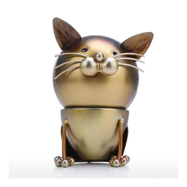 Soprammobili Divertimento per Gatti Ormento Iron Art Decor Artigiato Fatto A Mano Testa Staccabile Rotante Decorazione per Casa E Scrivania Regalo Perfetto