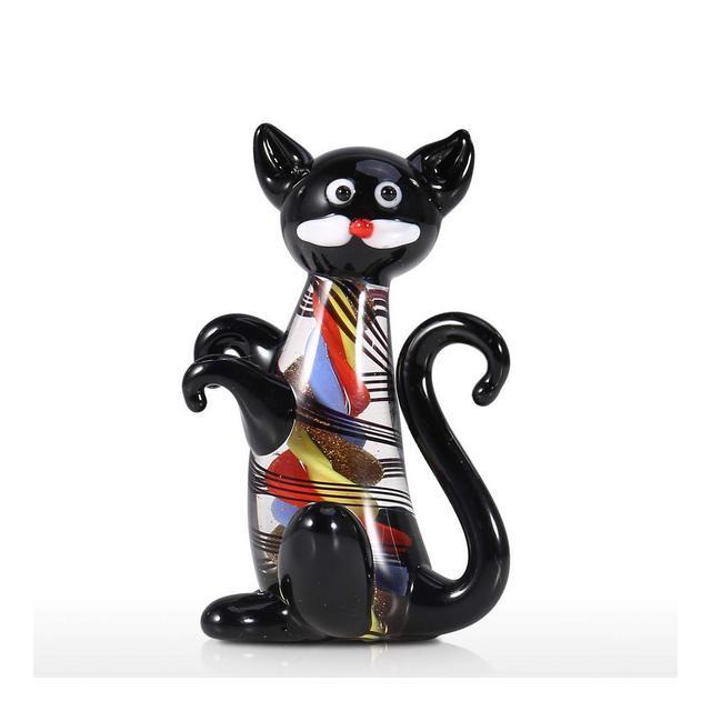 Soprammobili Moderni da Interno Scultura in Vetro Gattino Nero Mini Gatto Carino Statuetta Animale Ormento in Vetro soffiato Home Decor