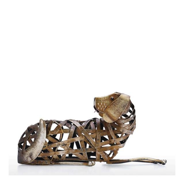 Soprammobili Scultura di Cane Intrecciata Ormento di Ferro Moderno Statuetta Intrecciata Creativa Artigiato Fatto A Mano per Lo Styling di Animali E Decorazione per La Casa