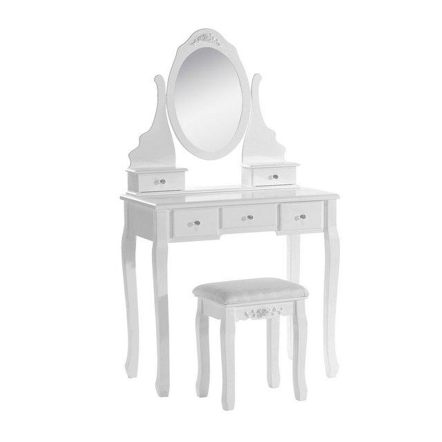 Specchiera con Sgabello ben Imbottito Tavolo Cosmetico Trucco Toeletta con 5 Cassetti in Legno Specchio Ellittico Bianco