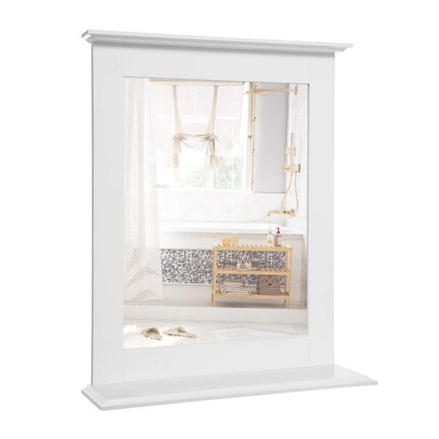 Specchio da Bagno Specchio da Parete con Mensola per Arredo Bagno e Toletta 46 x 12 x 55 cm Bianco Opaco