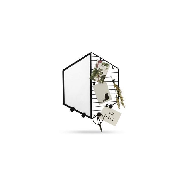 Specchio da Parete Esagole Specchio Moderno con Cornice in Metallo Nero Specchi Esagoli con Griglia Porta Note per Bagno cucina Soggiorno Camera 415x475x2cm