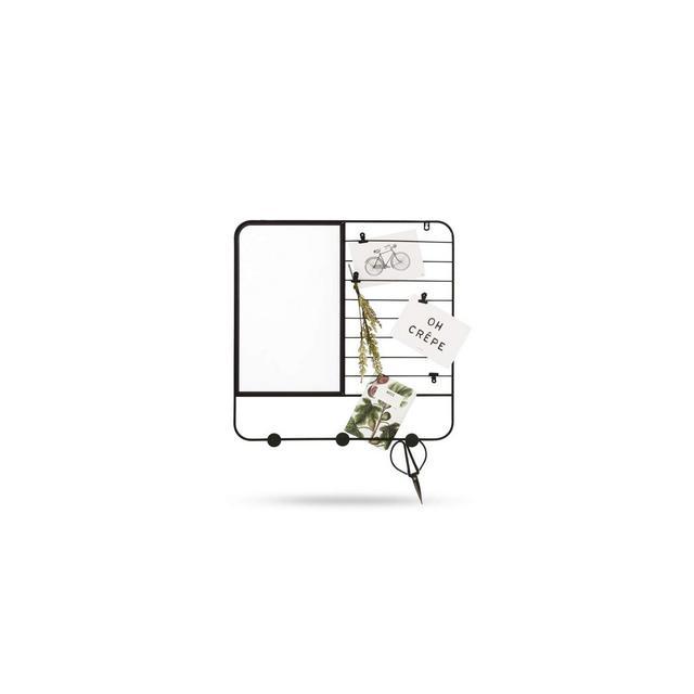 Specchio da Parete Rettangolare Moderno Cornice in Metallo Nero Specchi Rettangolari con Griglia Porta Note 48 x 48 x 2 cm
