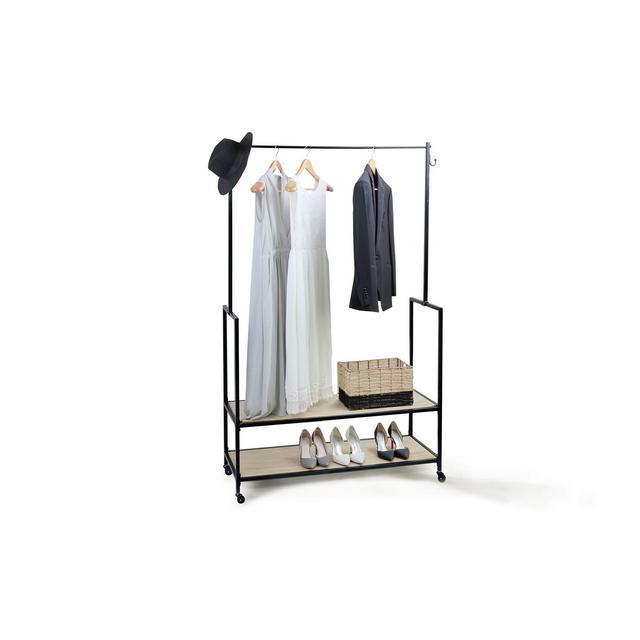 Stand Appendiabiti Attaccapanni con Ruote e 2 Ripiani per Scarpe e Vestiti Legno e Metallo Alto 175 m