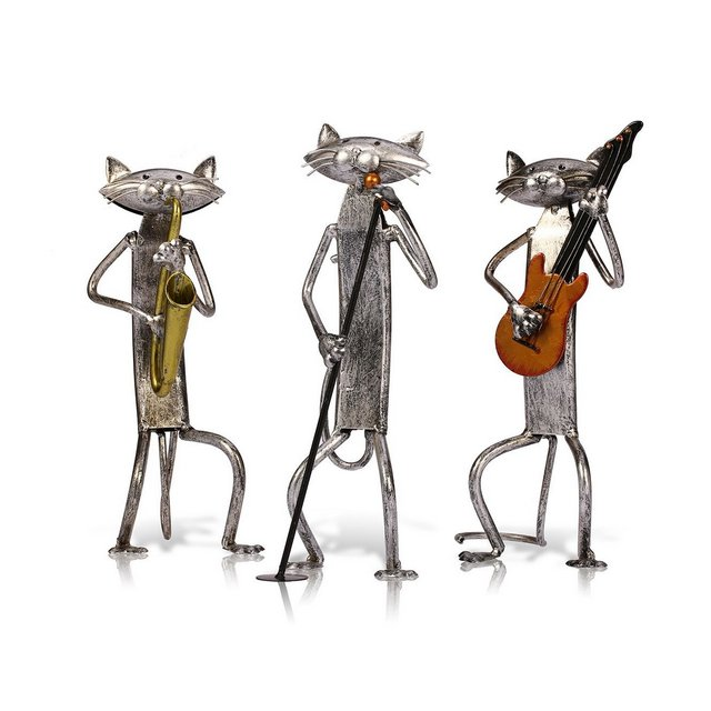Statue Decorative Gatto Band Sculpture 3 Playing Music Gatto Concert Gatto Scultura Combizione Home Orment Scultura Creativa