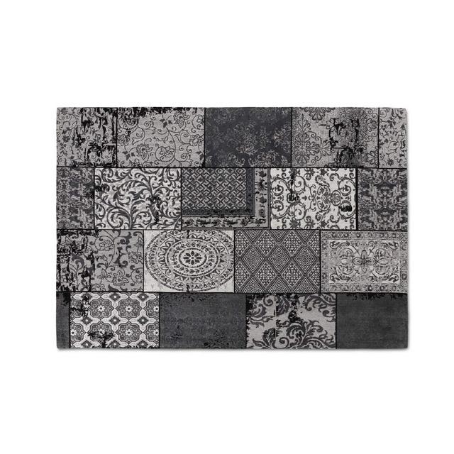 Tappeti da Salotto Moderno in ciniglia Tappeti di Design a Quadri Grigio Nero 80 x 150 cm