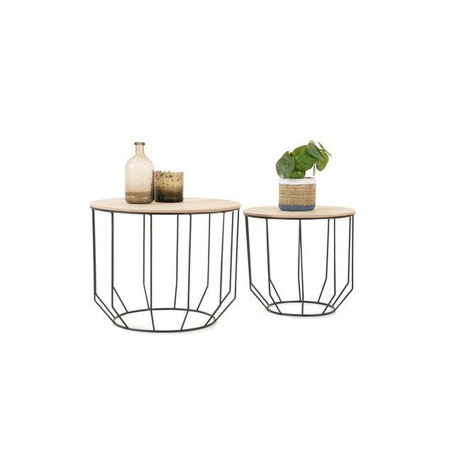 Tavolini da Salotto Moderno Set da 2 Coperchio Rimovibile per Funzione Cestino Tavolino Design Legno e Metallo capacità Fino a 20 kg