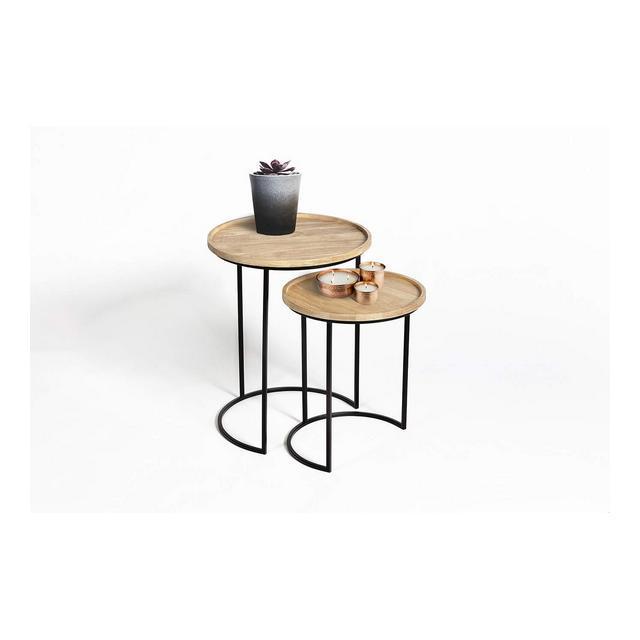 Tavolini da salotto impilabili set da 2 Tavolini sovrapponibili in legno e metallo Tavolini da caffè rotondi Tavolini a incastro stile vintage Capacità fino a 15 kg