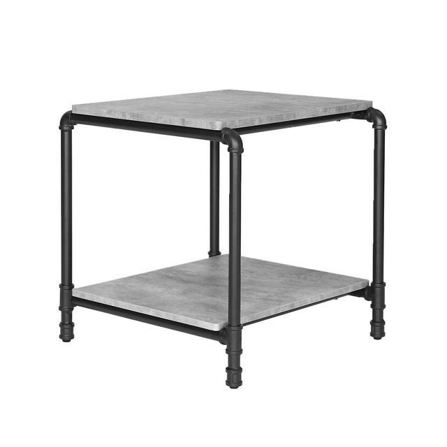 Tavolino Industriale Tavolo da Divano per Letto Simil Cemento Gambe in Tubo di Ferro Portaoggetti