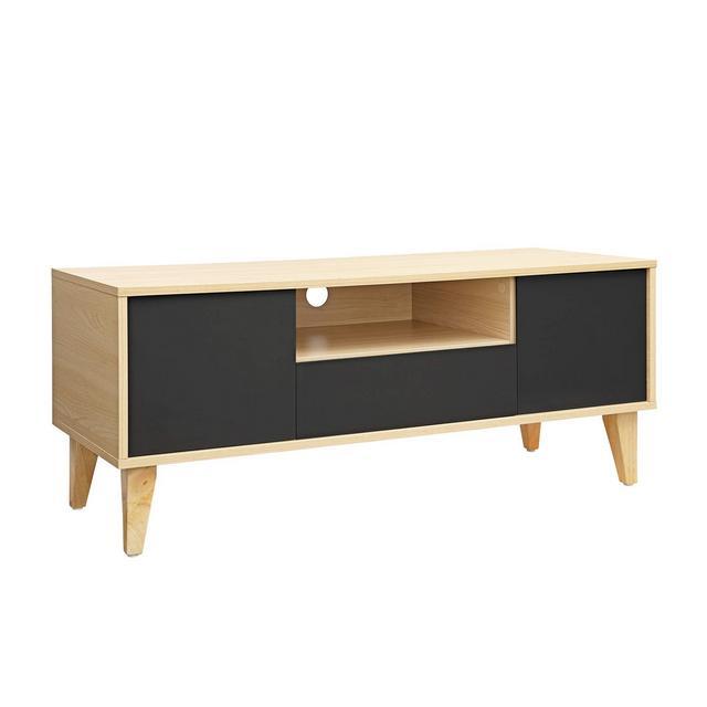 Tavolino Porta TV Moderno Mobiletto TV con Cassetto 2 Ante e Ripiano Aperto Gambe in Legno Massello 110 x 40 x 45 cm Colore Legno turale e Grigio LTV29NG