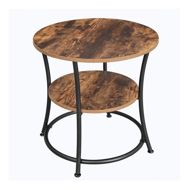 Tavolino Rotondo Comodino con 2 Ripiani Soggiorno Camera da Letto Montaggio Facile Metallo Design Industriale Marrone Vintage LET56BX