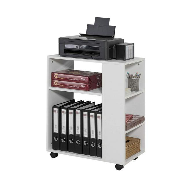 Tavolino Salotto con RuotePorta Stampante BiancoAltezza 75 cm FBT68W