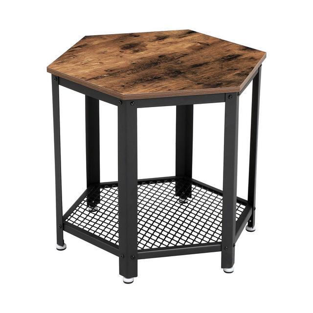 Tavolino Vintage Lato Divano Comodino con Ripiano Tavolino d'Appoggio da Salotto Camera da Letto Ingresso Struttura in Ferro Effetto Legno Esagole