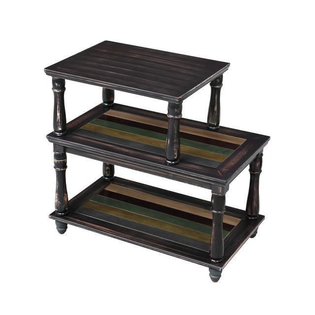 Tavolino con 3 Ripiani Portaoggetti Colorati Gambe in Legno Massello
