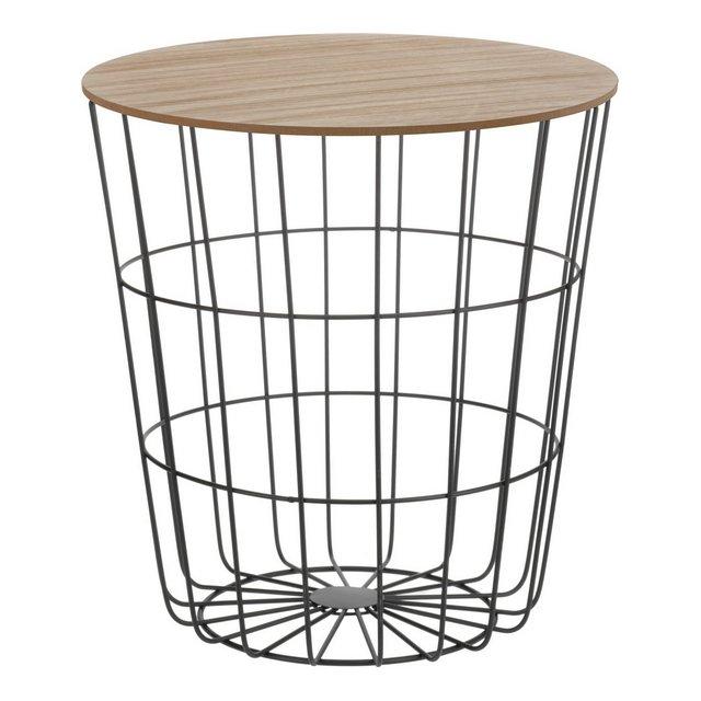 Tavolino d'appoggio con cestino in metallo e coperchio in legno tavolino decorativo da incluso inserto per cestino