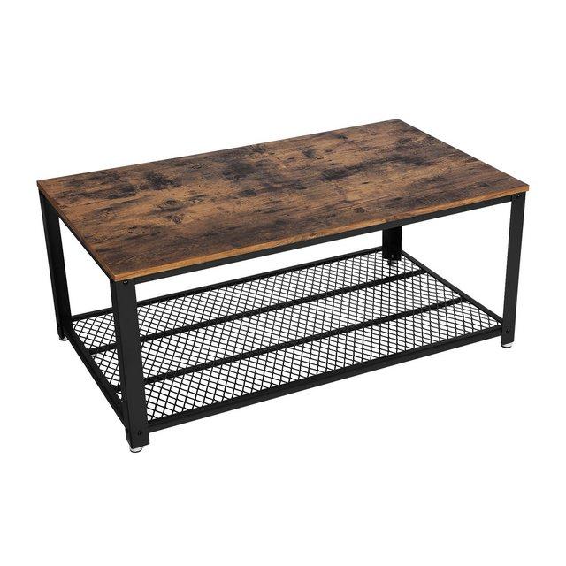 Tavolino da Caffè Stile Vintage Tavolino da Salotto Tavolo da Divano con Grande Ripiano Stabile Soggiorno Struttura in Ferro Facile da Montare