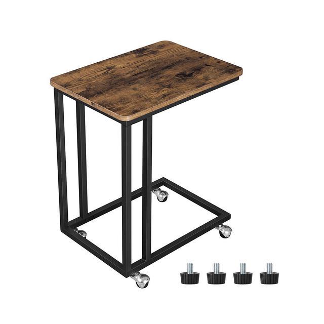 Tavolino da Letto con Ruote Industriale Tavolino Mobile da Salotto Comodino Carrello Soggiorno Camera da Letto Struttura in Ferro Effetto Vintage Facile da Montare