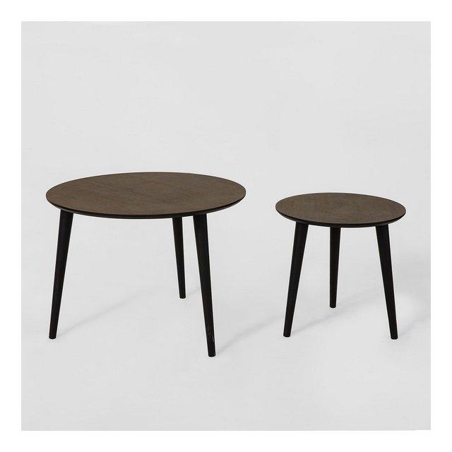 Tavolino da Salotto Moderno Set di 2 Tavolini Bassi L60*P60*A45cmimpiallacciatura di Legno di Frassino Marrone FBT40BR