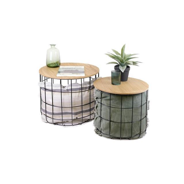 Tavolino da Salotto Moderno in Set da 2 Tavolini da caffè Tavolini Bassi Rotondi per Soggiorno cucina Piani Rimovibili Funzione Cestino capacità Fino a 20 kg