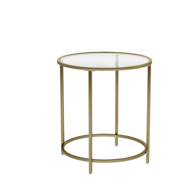 Tavolino da caffè Tavolino Rotondo con Piano in Veltro Temperato e Struttura in Metallo Dorato