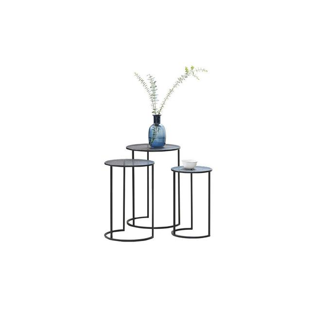 Tavolino da salotto moderno set da 3 tavolinetti design a incastro tavolini componibili in metallo nero stile shabby per cucina e soggiorno
