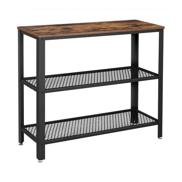 Tavolo Consolle in Stile Industriale Tavolo da Corridoio con 2 Ripiani di Rete Credenza Tavolino in Soggiorno