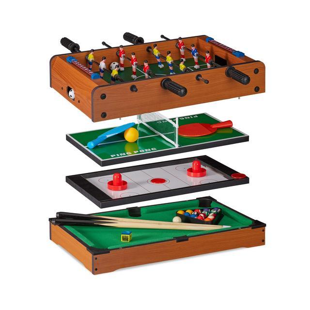 Tavolo Multigioco 4 in 1 Biliardino Ping Pong Hockey & Biliardo Bambini & Adulti