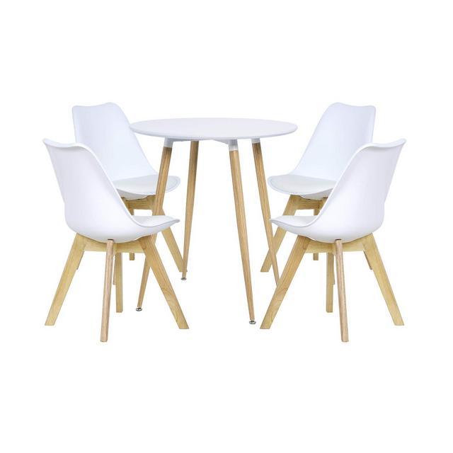 Tavolo Rotondo con 4 Sedie per cucina Soggiorno Set Arredo Bar Tavolino Bianco in Legno