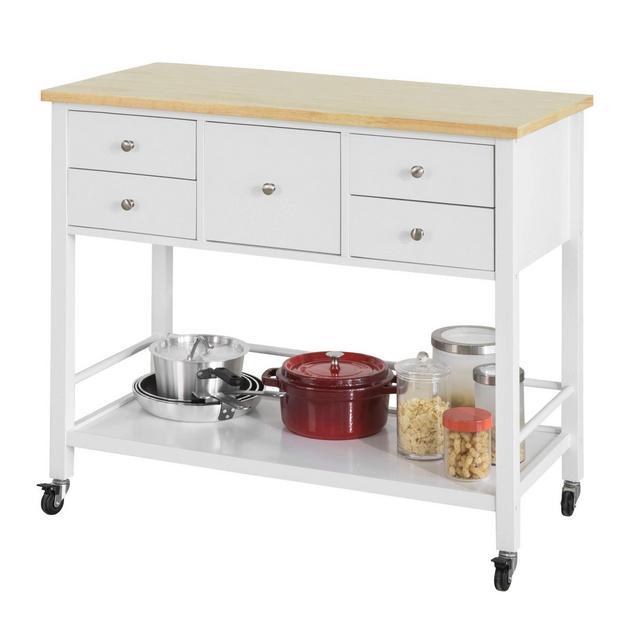 Tavolo consolle credenza con Ruote Penisola cucina L97*A87*P45cm in Legno BiancoFKW80WN