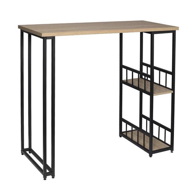 Tavolo da Bar Alto con Mensole Bancone da Casa in Metallo e Legno Rovere 20x50x105 cm