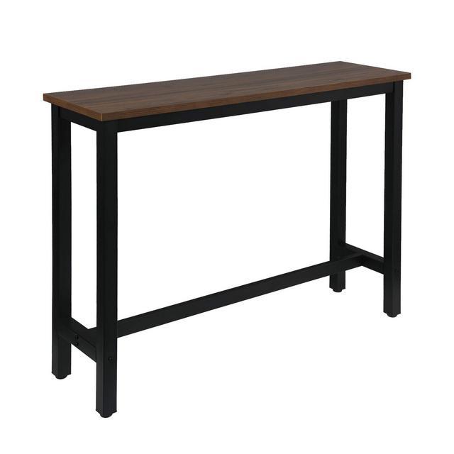 Tavolo da Bar Rettangolare Alto Tavolino per cucina in Metallo Legno 140x40x100 cm