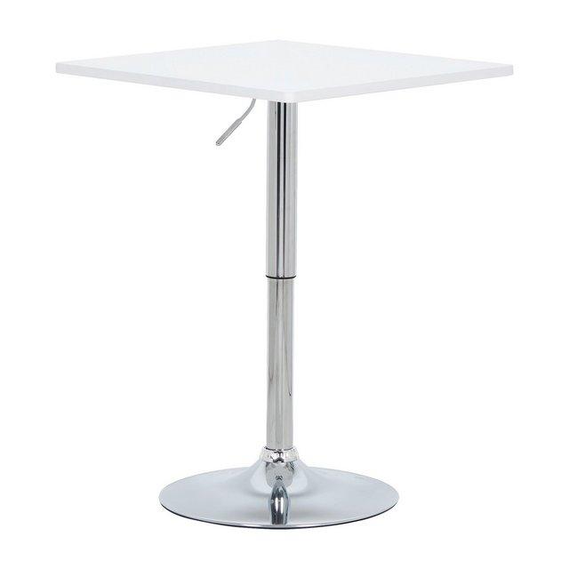 Tavolo da Bar Tavolino cucina in Robusto MDF Cromato Altezza Regolabile Girevole Moderno Colore Bianco