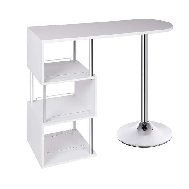 Tavolo da Bar cucina Scafalle a 3 Ripiani con Portabottiglie Vino Organizzatore in Metallo MDF Bianco 113x40x105cm