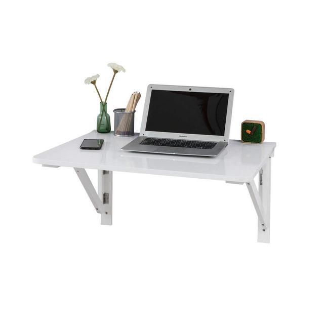 Tavolo da Muro Pieghevole in Legno 75 * 60cm Senza Sedia Due SupportiBianco FWT05W