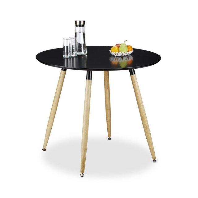 Tavolo da Pranzo Rotondo Legno Nero 90x90x74 cm