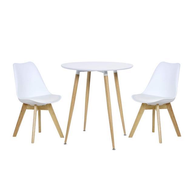 Tavolo da Pranzo con 2 Sedie cucina Bar Tavolino Rotondo Bianco in Legno BT29wsBH29ws2