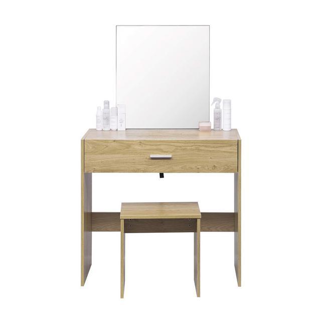 Tavolo da Trucco Specchiera con Sgabello Specchio Cassetto Organizer Cosmetici Toeletta in Legno